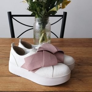 spring platform sneakers with pink bow